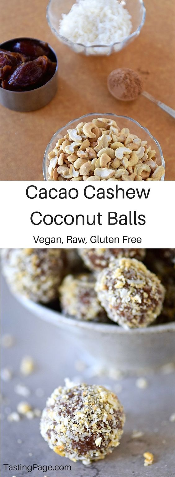 Raw Vegan Cacao Coconut Cashew Balls - these naturally sweet treats are gluten free, dairy free and free from refined sugar | TastingPage.com