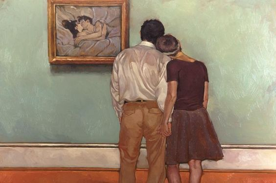 pareja enamorados mirando cuadro