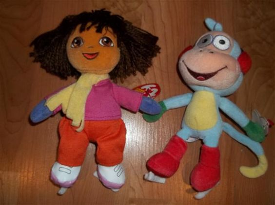 Dora and boots Beenie baby on ice dolls
