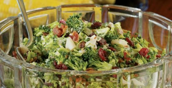 Broccoli-Bacon Salad.  I might omit the cranberries not much for dried fruit.