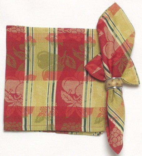 Durable Hand Woven Jacquard 100% Cotton Red and Cream Fruit Napkins 22x22 Inches Set of 12 by Traders and Company. $33.00. 100% Cotton. 12 Napkins for the Price of 6. These hand loomed cotton napkins adds color to your dining table.