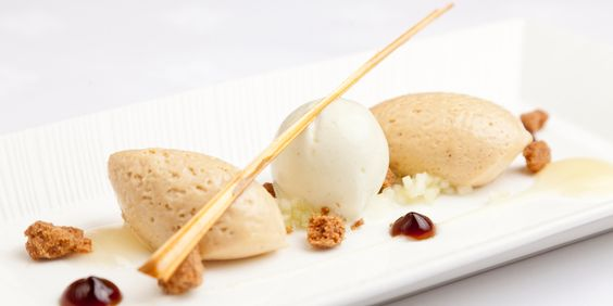 George Blogg pairs a heavenly caramelised white chocolate mousse with apple sorbet, purée, and muscovado gel and tuille