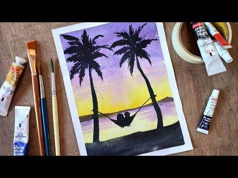 608 Couple Under The Palm Trees Watercolor Painting Tutorial