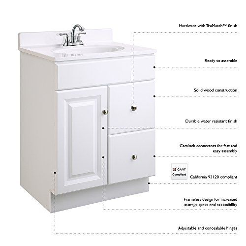 Design House 545079 Wyndham White Semigloss Vanity Cabinet With 1door And 2drawers 30inches Wide By 21inches Deep By 315i Bathroom Vanity Cabinet Vanity