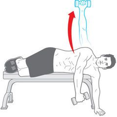 lying lat raise - kick in more muscles fibres with new positions....15 reps, 3 times