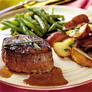 This recipe cooks the steaks to medium-rare doneness. Lower the temperature and increase cook time for more well-done steaks.