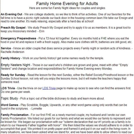 family home evening ideas for older couples best 10 family home