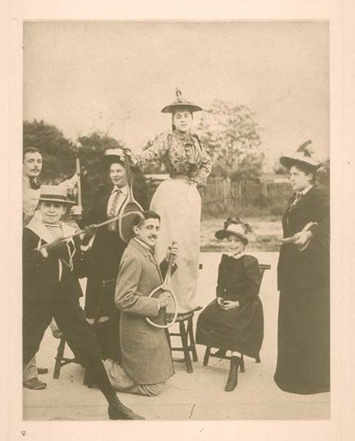 Marcel Proust playing air guitar on a tennis racket circa 1892: