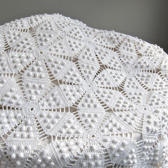Vintage crocheté couvre-lit coton blanc par BarkingSandsVintage