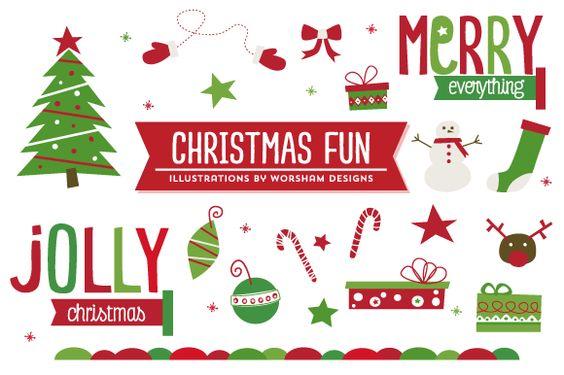 Christmas Fun  Vector by Worsham Designs on creativemarket https