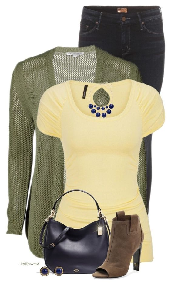 """""""Color Challenge ~ Green, Blue & Yellow"""" by houston555-396 ❤ liked on Polyvore featuring Mother, maurices, BP., Coach and Tom Ford"""