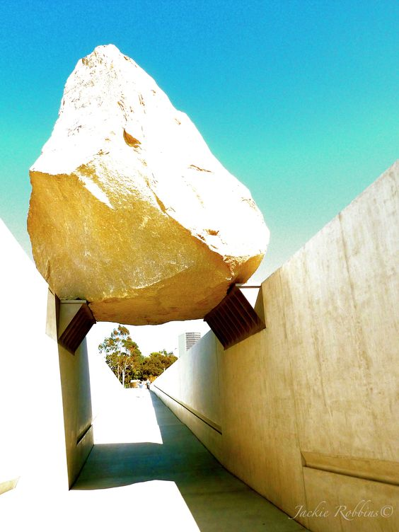 """Yesterday I experienced """"The Rock"""" for the first time, Michael Heizer; unofficial title, """"The Rock"""", official title: Levitating Mass. It's an awesome achievement and really presents some interesting and provacative points of view. Paired with the immediate and surrounding landscapes, it strikes me as so very Los Angeles. #LACMAtherock #jackierobbinsfineart #jackierobbinsphotography #loveart #artlover"""