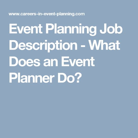 Sample Job Descriptions events planner Pinterest Event - event planner job description