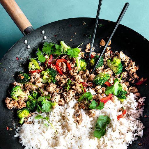 Ground Chicken And Rice Stir Fry Recipe Yummly Recipe Ground Chicken Recipes Healthy Minced Chicken Recipes Ground Chicken Recipes