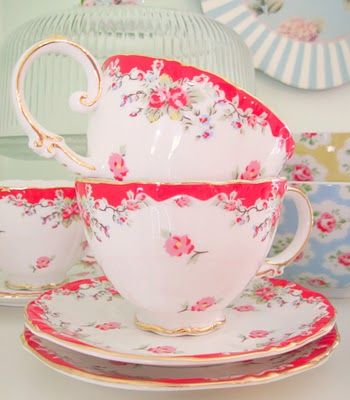Tea cups with flowers ~ what's not to love ~ ~ ~