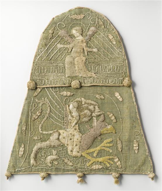 Aumonière d'une comtesse de Bar, 14e siècle ; fabriqué à Paris ; provient de l'Abbaye bénédictine de Saint-Mihiel (Meuse) -- Embroidered Aumonière with gold thread and silk, 14th century