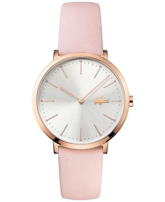 Lacoste Womens Moon Pink Leather Strap Watch 35mm 2000948