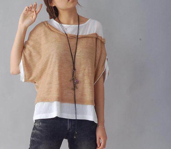 T-Shirts uni Rundhals - Quiet Summer 2 - layered cotton top (Y1212) - ein Designerstück von idea2lifestyle bei DaWanda