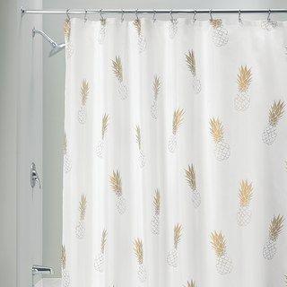 Interdesign Gold Pineapple Shower Curtain In 2020 Pineapple