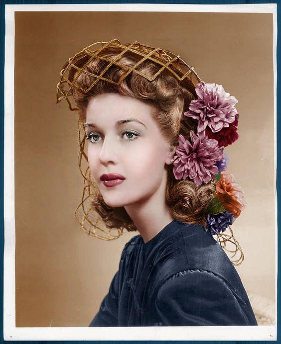 Anita Louise unique vintage hair hat style fashion lattice floral cage 40s color photo print