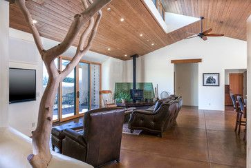 Strawbale Farm - farmhouse - family room - santa barbara - Semmes & Co. Builders, Inc