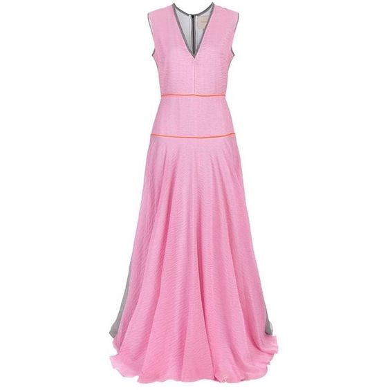 Roksanda Appley Striped Crepe Gown ($2,365) ❤ liked on Polyvore featuring dresses, gowns, pink evening dress, evening dresses, cocktail dresses, long gowns and pink evening gowns
