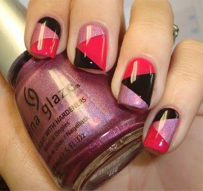 Angular Retro Tricolor Nails in Lavender Shimmer, Hot Pink & Black <3