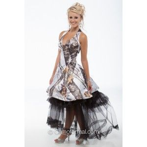 """3656 """"Tessa"""" Short Camo with Retro Net Slip Rhinestone connector pin at center bodice. Shown in WINTER Breakup by Mossy Oak with black net slip. Retro Net Slip Included in price. Dress can be worn without the retro net slip. Available in all camo patterns in sizes 2-30.  Made in the USA, by Camo Formal."""