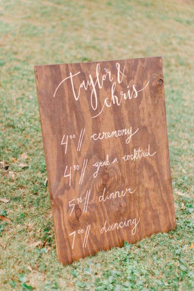 Wooden sign: http://www.stylemepretty.com/2015/05/27/organic-bohemian-florida-wedding/   Photography: Kati Rosado - http://www.katirosadophotography.com/