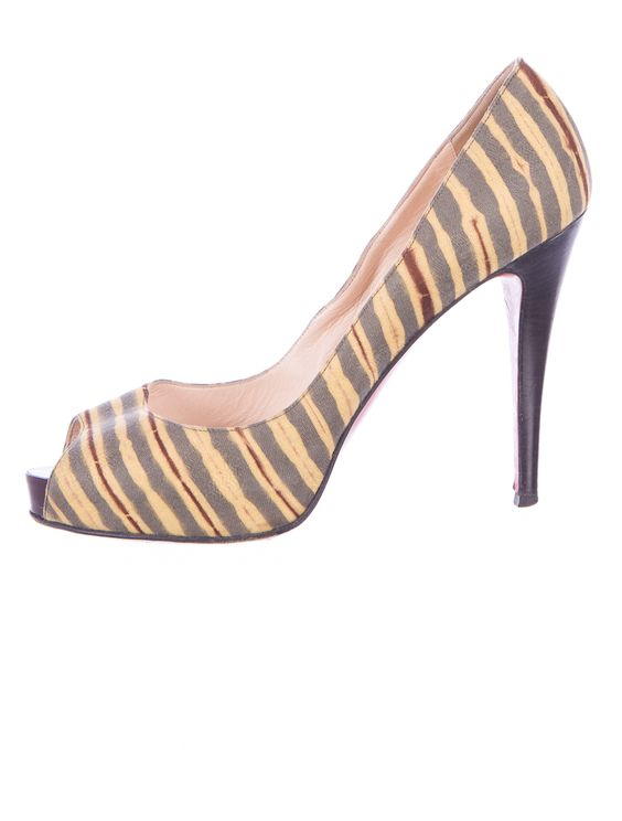 Christian Louboutin Pumps  Sage, yellow and burgundy striped open toe pumps with stacked leather heels.