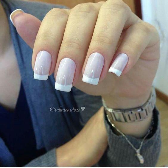 Dynamic French manicure acrylic nails