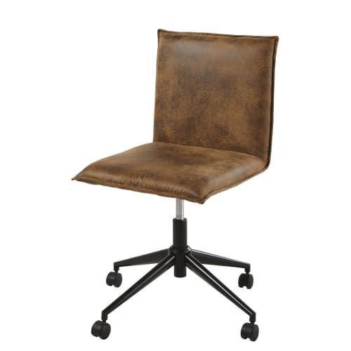 Chaise De Bureau A Roulettes En Suedine Marron Maisons Du Monde Desk Chair Chair World Market Dining Chairs