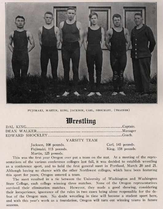 1913-14 UO Wrestling -- the first time Oregon fielded an official wrestling team.  From the 1915 Oregana (UO yearbook).  www.CampusAttic.com