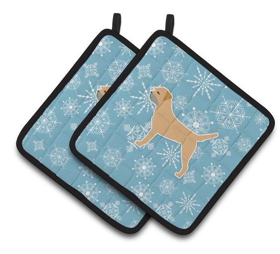 Winter Snowflake Border Terrier Pair of Pot Holders BB3489PTHD