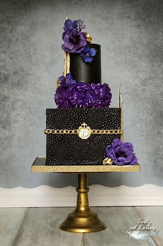 Elegant Black Gold Purple Cake Purple Cakes Birthday Purple