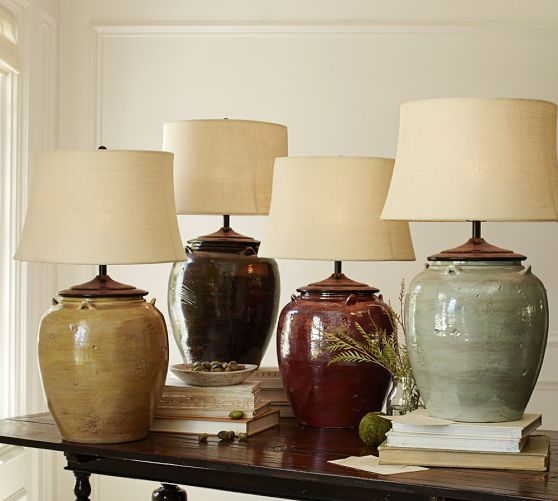 Pottery Barn Vintage Desk Lamp: Courtney Ceramic Table Lamp Base With Antique Bronze