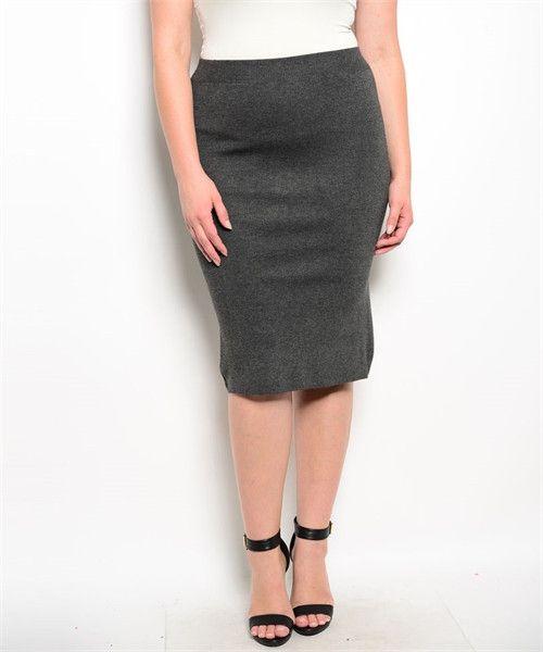 Midi Skirt (2 Colors)-Plus Size