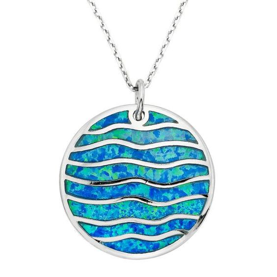 Round Blue Inlay Opal Disc with Wavy Design Pendant in 925 Sterling Silver by…