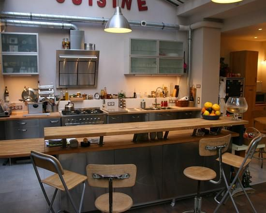 ilot central bar cuisine recherche google future maison cuisine pinterest steel and kitchens - Cuisine Ilot Central Bar