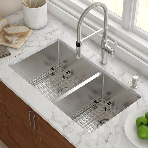 Standart Pro 33 L X 19 W Double Basin Undermount Kitchen Sink With Basket Strainer In 2021 Kitchen Sink Remodel Undermount Kitchen Sinks Stainless Steel Kitchen Sink Kitchen sinks 33 x 19