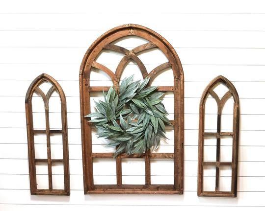 Farmhouse Wooden Wall Window Arch Wood Window The Chestnut Grove Wood Window Frame Arched Wall Decor Wood Windows