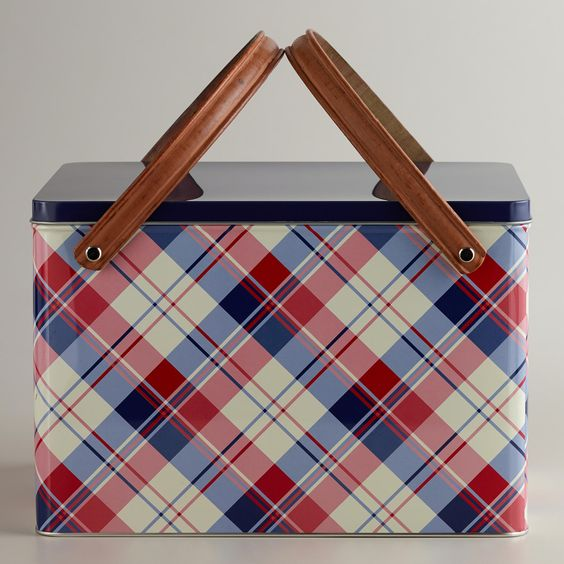 Plaid Metal Picnic Basket! Travel around your own city with a lunch for the day with this wonderful large tin picnic basket at under 20dol.
