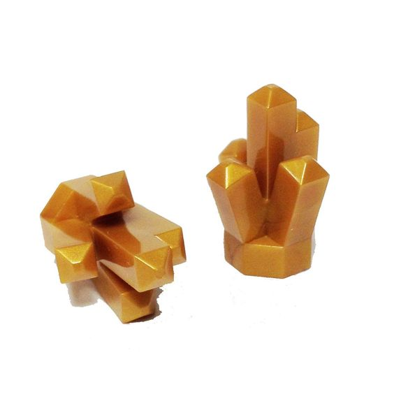 """Lego Parts: Rock 1 x 1 Crystal """"5 Point"""" (PACK of 2 - Pearl Gold)"""