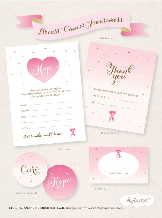 Free Breast Cancer Awareness Invitation template, thank you note - fundraiser template free