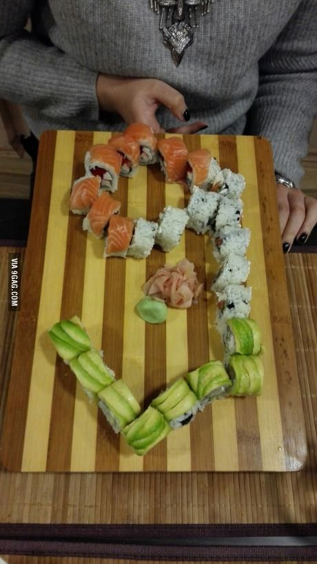 Sushi chef saw me browsing 9gag and surprised me, and he is a cool guy as well.