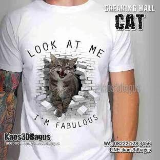 Kaos KUCING, Cat Breaking Wall - Kaos3D Gambar KUCING, Kaos KUCING LUCU, Cat Lover, T-shirt, Fashion, Funny Cat Shirt, Kaos3D