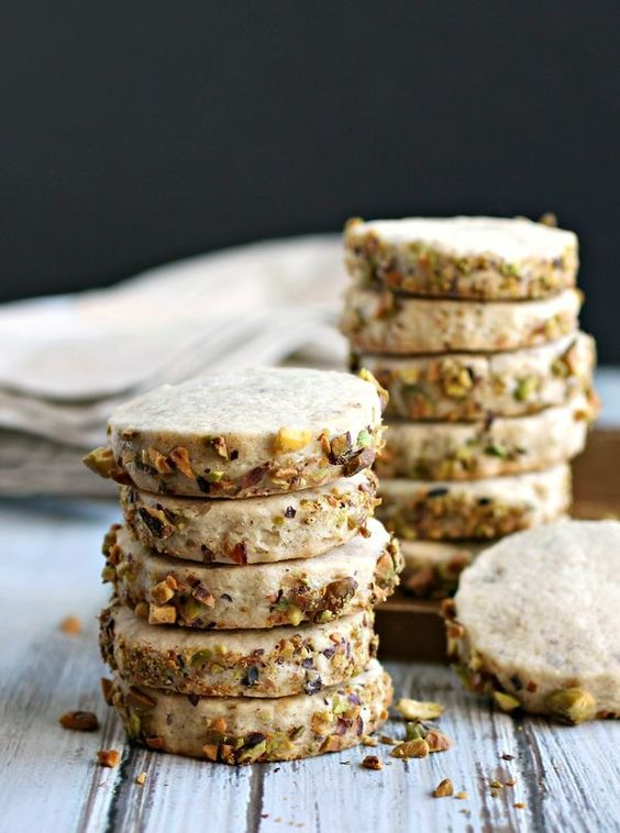Cardamom Pistachio Shortbread Cookies