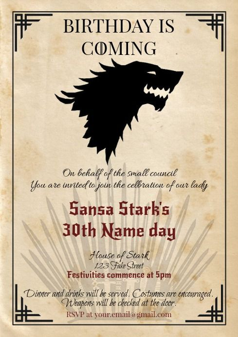 Template Game Of Thrones Got Birthday Stark Game Of Thrones Birthday Happy Birthday Posters Birthday Poster