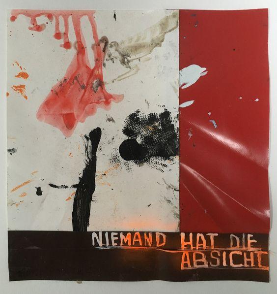 Hermann Josef Hack, NIEMAND HAT DIE ABSICHT, 160928, painting and spray paint on tarpaulin, 29 x 27 cm, 2016