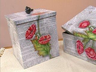 Decoupage y papel de diarios deco pinterest decoupage - Cajas de carton decoradas ...